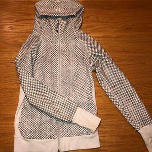 White and grey/black scuba sweatshirt